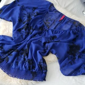 Royal blue sheer peasant style plus size blouse